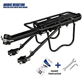 GreatRich Rear Bike Rack Bicycle Cargo Rack Quick Release Adjustable Alloy Bicycle Carrier 115 Lb Capacity Easy to Install Black (Black-1)