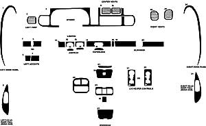 Rvinyl Rdash Dash Kit Decal Trim for Dodge Ram 1998-2001 (1500) - Wood Grain (Burlwood Matte)