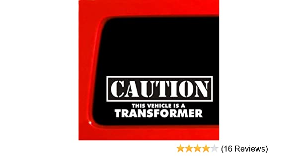 """2PCS /""""Caution this Vehicle is a TRANSFORMER/"""" Funny Die-Cut Car Decals White"""