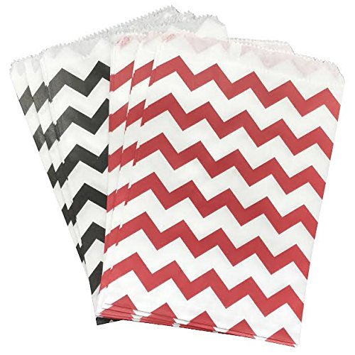Outside the Box Papers Black Red and White Paper Treat Sacks Chevron Favor Bags - 5.5 x 7.5 Inches - 48 Pack]()