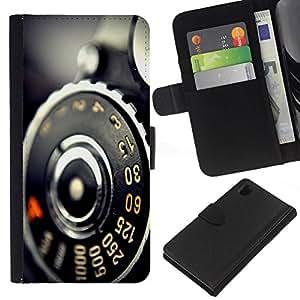 // PHONE CASE GIFT // Moda Estuche Funda de Cuero Billetera Tarjeta de crédito dinero bolsa Cubierta de proteccion Caso Sony Xperia Z1 L39 / Vintage Retro Camera Macro /