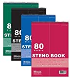 4Pk, BAZIC 80 Sheets 6'' X 9'' Green Tint Gregg Ruled Steno Book