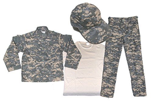 Military Uniform Supply Kids Uniform 4 Piece Set - Kids Military Costume - Small, Acu Digital