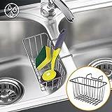 #1: Sponge Holder, WeGuard 304 Stainless Steel Multifunctional Sponge Holder for Kitchen Sink Cabby Hanging Basket - Silver