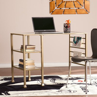 Price comparison product image Raquel Rectangular Writing Desk with 2 Exterior Shelves Made w / Iron tube and Metal Sheet in Matte Gold Finish 30.25'' H x 42.75'' W x 20.75'' D in.