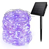 Ankway 200LED Solar Powered String Lights Purple, Upgraded 3-Strand Copper Wire Solar Fairy Lights, 72ft/22M, 8 Lighting Modes, Auto on/Off, IP65 Waterproof Solar Lights for Outdoor Plants Garden