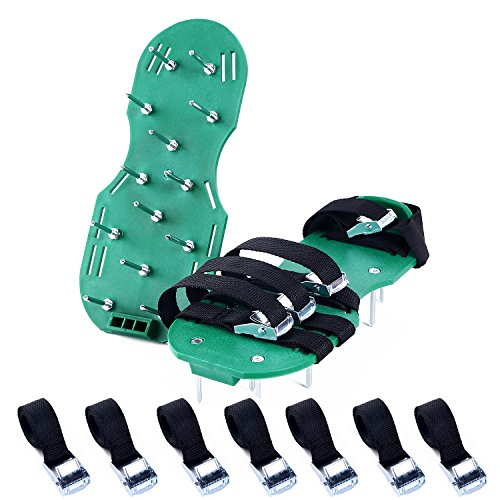 Ohuhu Lawn Aerator Shoes, 4 x Adjustable Aluminium Alloy Buckles & 1 x Heal Elastic Band Unique Design | Heavy Duty Spiked Sandals for Aerating Your Lawn or Yard (Cut On Back Of Heel Won T Heal)