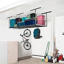 "FLEXIMOUNTS 3x8 Heavy Duty Overhead Garage Adjustable Ceiling Storage Rack, 96"" Length x 36"" Width x 40"" Height (Black)"