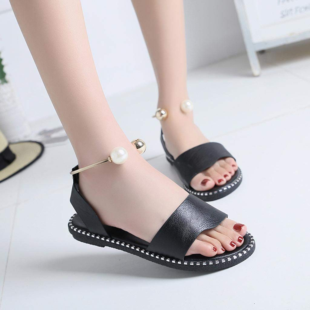 Girl Fashion Solid Color Pearl Buckle Causal Round Toe Shoes Flat Head Shoes Beach Cool Shoes lkoezi Women Round Toe Sandals