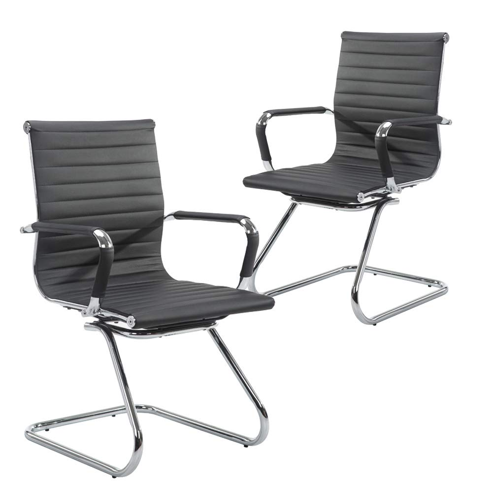Wahson Heavy Duty Leather Office Guest Chair Mid Back Sled Reception Conference Room Chairs, Set of 2 (Black) by Wahson