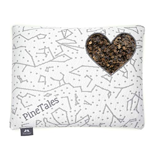 PineTales, Buckwheat Hulls Pillow with 100% Organic Filling - Fully Adjustable - Hypoallergenic with Removable and Washable Premium Bamboo Cover, Handmade in USA, Compact Size (14 inches x 18 ()