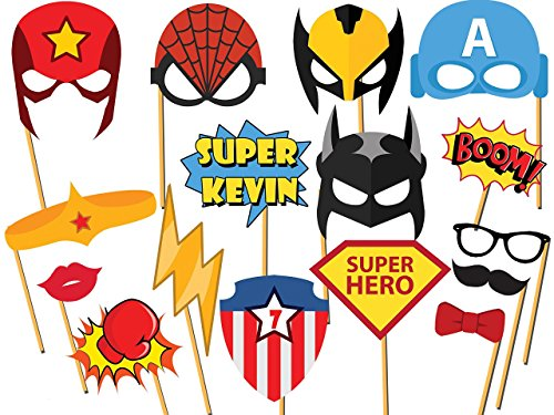 Custom Superhero Photo booth props - Size 36x24, Personalized superhero party, Comic Book, Speech Bubbles,Superhero Birthday Props, Party Decorations, Handmade DIY Party Supply Photo Booth Props (Superhero Wedding Photo)