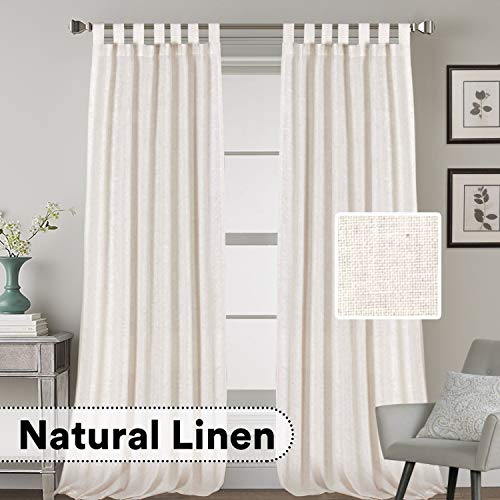 H.VERSAILTEX 2 Pack Ultra Luxurious High Woven Linen Elegant Curtain Panels Light Reducing Privacy Panels Drapes, Tab Top Curtain Set, Extra Long 52x108-Inch, Natural (Curtains Inch 108 Wide)