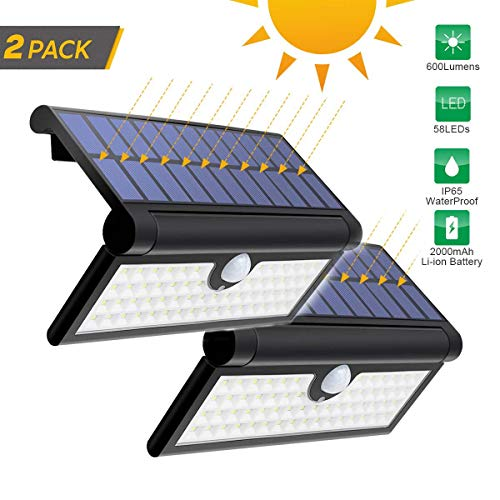 DZWJ Outdoor Solar Wall Light,Foldable Motion Sensor Security Lights 14/42/58LED Waterproof Wireless Garden Light for Camping Yard Wall Porch Patio Driveway,3W58LED