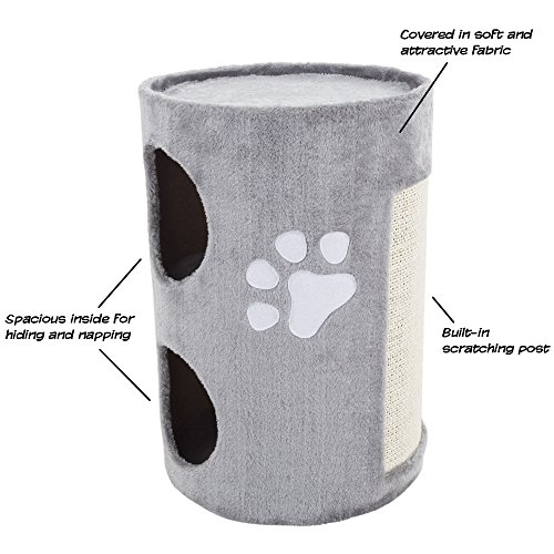 1 Piece Grey 20.5 Inches High Double Entry Barrel Cat Condo, Gray Color Pet Tree House Kitty Two-tiered Tunnel Bed, Kittens Furniture Stable Scratcher Round Opening, Sisal Particle Board Polyester (Tiered Tree Cat)
