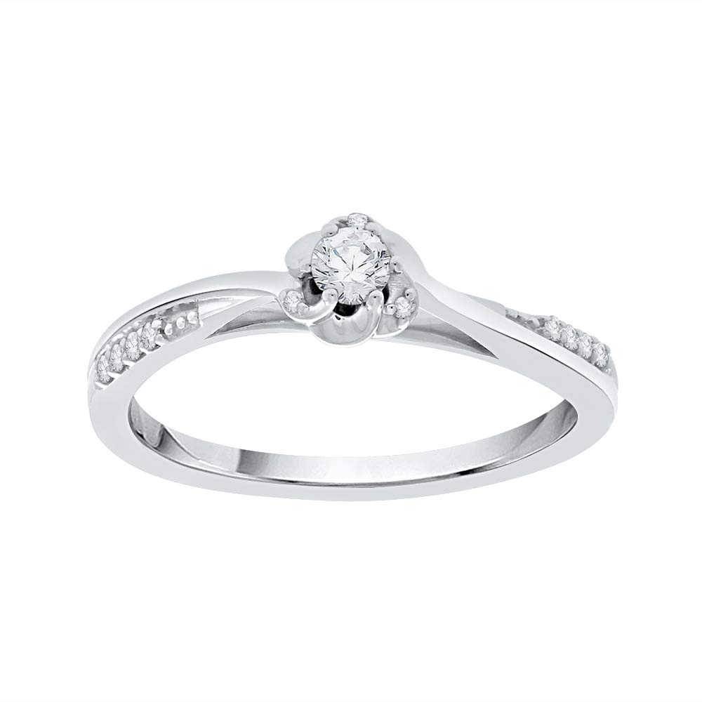 1//6 cttw, J-K, SI2-I1 KATARINA Diamond Curved Solitaire Promise Ring in 10k Gold