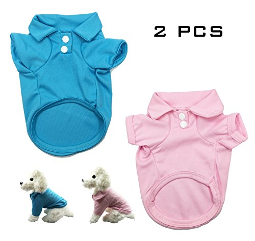 Fat Dogs In Costumes (FUNPET 2 PCS Dog Polo Shirts with Soft Cotton for Small Cats and Puppies in Spring Summer S)