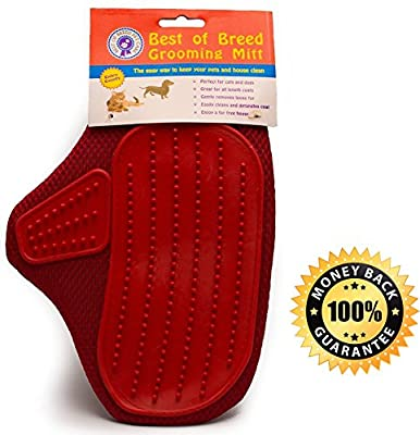 Premium Pet Grooming Glove | Soft Rubber Mitt Gently Removes Loose Pet Hairs, Dirt & Debris | For Dogs, Cats, Horses, Pigs, Goats, More | 1 Size Fits Most with Adjustable Strap
