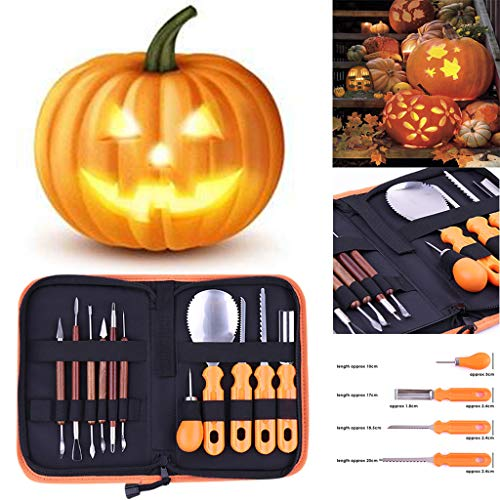 Halloween Pumpkin Carving Tools Kit Conventional Sculpting Tools, Includes Everything and Perfect Size You Need for Carving Pumpkins, Easy to Use & Clean, Great for Beginners & Experts Alike (Best Tools To Use For Pumpkin Carving)