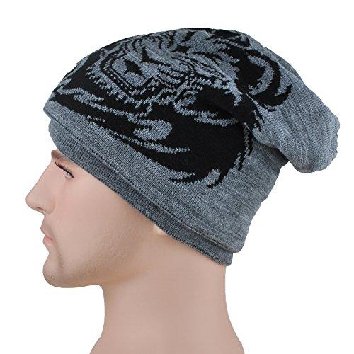 2b398f5c362f1 Men s Slouchy Beanie Hat with Fleece Lined Winter Warm Tiger Knit Ski Skull  Cap Grey