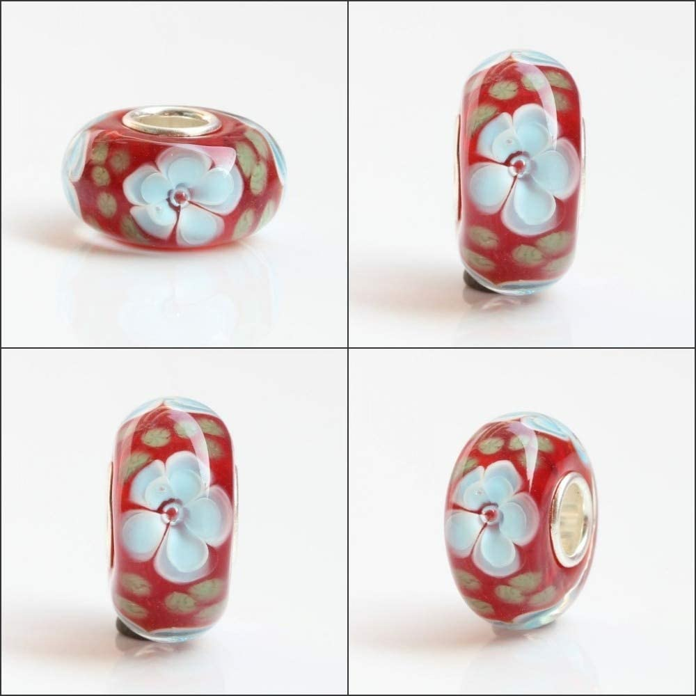 Color: 3 Pukido 925 Sterling Silver Large Hole Colorful 3D Flowers Murano Glass Charm Beads Fit European Bracelet Jewelry