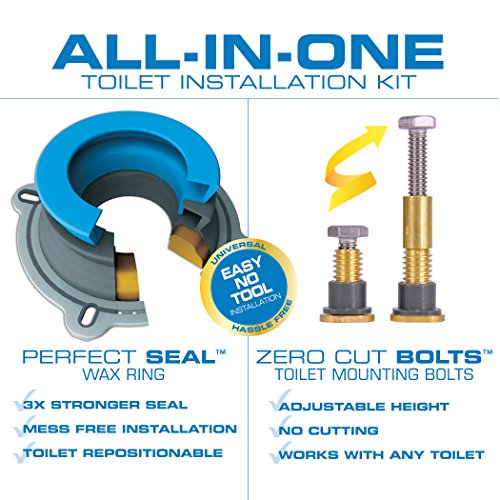 Danco 10879X All-in-One Installation Kit with Perfect Seal Toilet Wax Ring & Zero Cut Bolts, Blue and Gray, 1-Pack by Danco (Image #2)