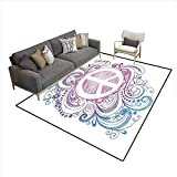 Freedom Drum Coffee Table Carpet,Classic Hand Drawn Style Peace Sign and Swirls Freedom Change Hope Roll Icon,Print Area Rug,Pink Blue White 6'x9'
