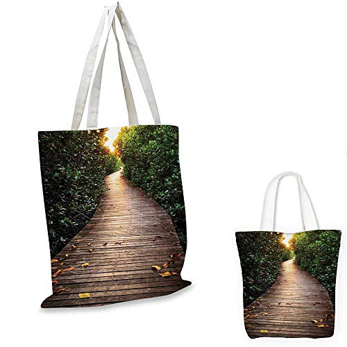 Jungle portable shopping bag Boardwalk In Mangrove Forest Sunlight Tunnel Sunset Autumn Golden Leaves shopping bag for women Brown Green Yellow. 15
