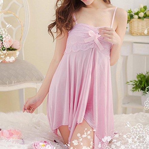 FAMILIZO Sleepwear Mujeres Lace Lingerie Babydoll Vestido Pijamas Ropa interior Ropa de dormir Camisones Rosa