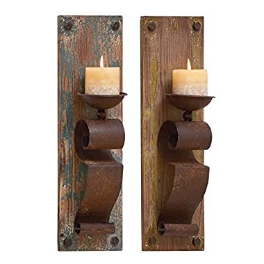 Deco 79 Deco 79 Wood Candle Sconce, 6 x 19 , Assorted,(Pack of 2)