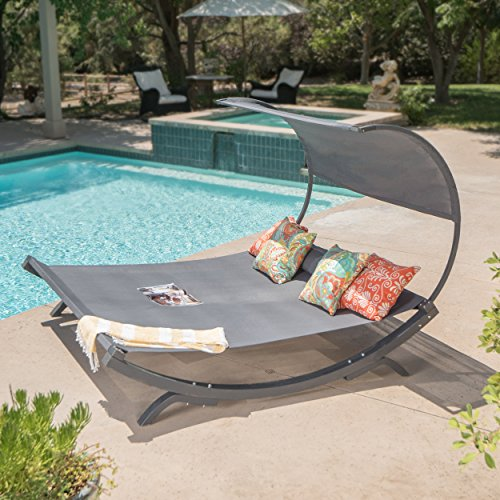 Merianna Grey Wood Sunbed with Grey Outdoor Mesh Canopy Review