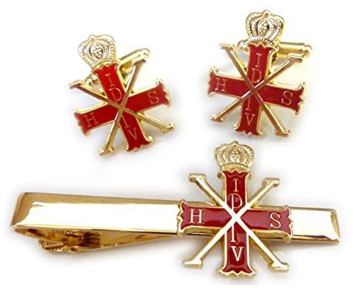 (Red Cross of Constantine Knight Order Prince Masonry TIE BAR CUFFLINKS SET)
