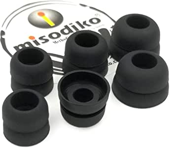 misodiko S450D Silicone Earbuds Tips - for Sennheiser CX 200 215 300 II, IE80/ Beats X, Powerbeats/Skullcandy Smokin' Buds, Ink'd, Method/KZ AS10 ZS10- Replacement Earphoes Eartips (3-Pairs, Large)