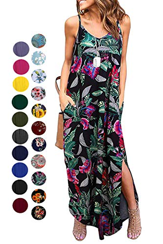 Kyerivs Women's Summer Dress Casual Loose Beach Cover Up Long Plain Print Cami Maxi Dresses with Pocket Leaf S (6-8)