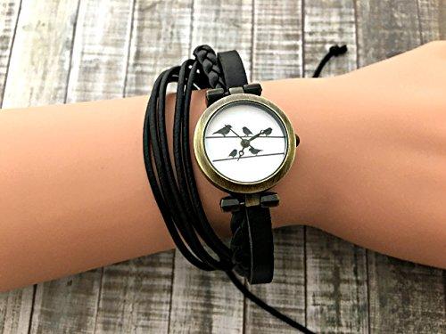 Bird On Wire Wrap Bracelet Leather Watch, Leather Wrap Bracelet Watch, Leather Wrap Art Watch, Vintage Retro Wrap Bracelet Watch, Wrap Genuine Leather Watch (022 Watch)