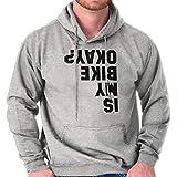 Brisco Brands is My Bike Okay? Funny Motorcycle Biker Hoodie Sport Grey