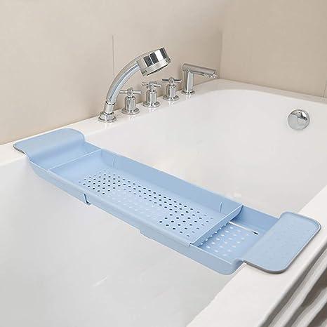 Adjustable Bathtub Tray with Extending Side Metal Wineglass Holder Towel Holder Bathtub Shelf Storage Organizer Modern Expandable Bathtub Tray Rack for Home Bathroom Silver Bath Tray for Tub