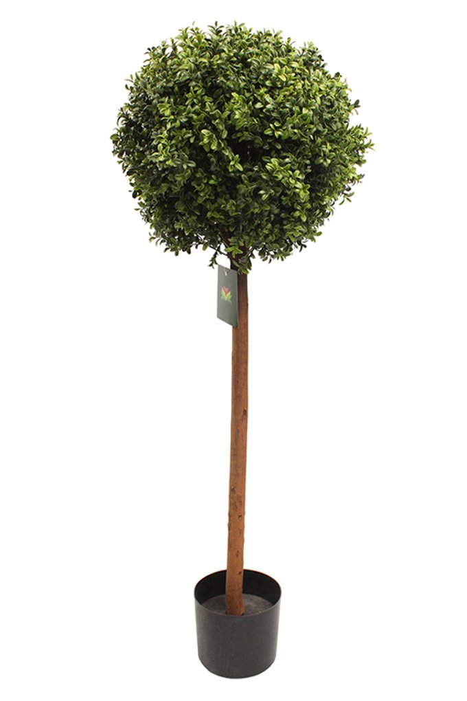 Artificial 4ft Boxwood Topiary Single Ball Shape Tree Plant – UV Protected – Indoor and Outdoor Use – Lollipop Shape Tree Blooming Artificial