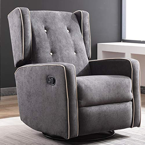 CANMOV Swivel Rocker Recliner Chair, Manual Reclining Chair, Single Seat Reclining Chair, Smoke Gray01