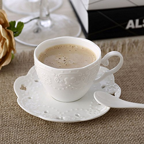 European Bone China Carved Lace White Ceramic Coffee Cup And Saucer Set