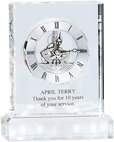 Baudville Engraved Clock Trophy – Executive Crystal – Rectangular Shaped on a Rectangular Base – Personalized Engraving Up to Three Lines