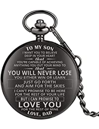 "Engraved Pocket Watch, Pocket Watch for Boys, Personalized Gift""to My Son"" Black Full Hunter Pocket Watch with Chain Xmas Gift"