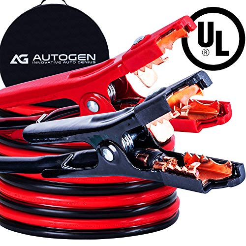 AUTOGEN Jumper Cables 2 Gauge 20Feet 800A Heavy Duty With Durable Carry Bag UL Listed (2AWG x 20Ft) Booster Cables ()