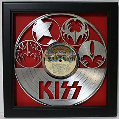 KISS Framed Laser Cut Platinum Plated Vinyl Record in Shadowbox Wallart