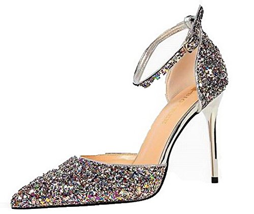 VogueZone009 Women Closed-Toe Pu High-Heels Buckle Solid Sandals Multicoloured