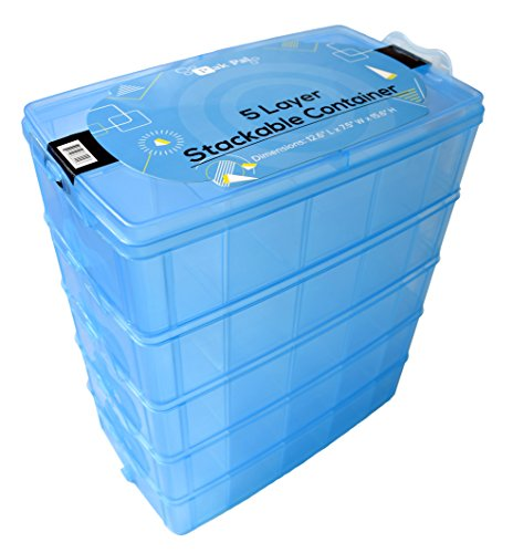 - Pak Pal Stackable Storage Container Blue | Toy Organizer Box with 5 Layers of Adjustable Compartments | Carrying Case for Tidy Kids | Includes Fun Glow-In-The-Dark Stickers!