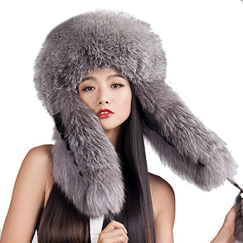URSFUR Silver Fox Fur Russian Ushanka Hats with Fox Tails Natural Color by URSFUR