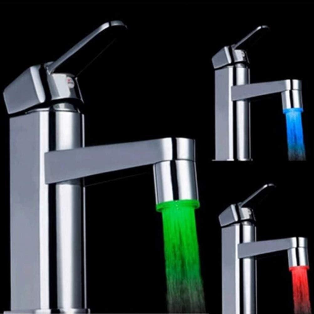 Comtervi Wasserhahn Bad Waschbecken Beleuchtung Wasserfall Auslauf Waschtischarmatur Glas Mischer Sp/üle Waschtisch Einhebelmischer f/ür Badezimmer 3 Farbewechsel
