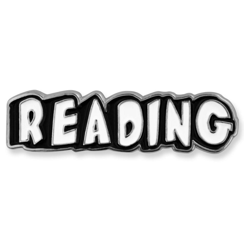 PinMart Black and White Reading Word School Teacher Enamel Lapel Pin