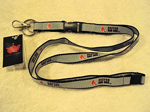 (aminco MLB Boston Red Sox Ultra Tech Lanyard, Gray/Black, 22